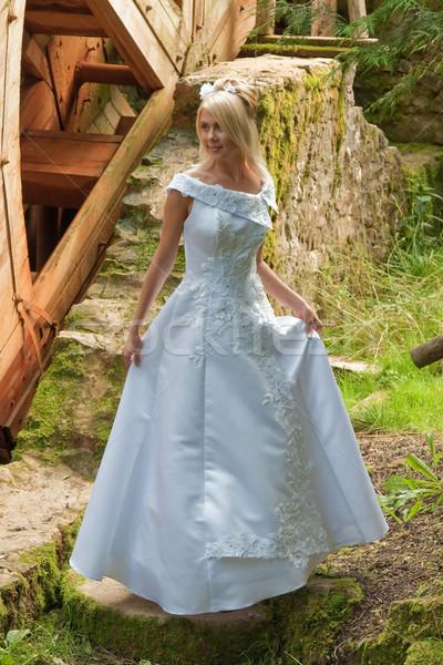 Bruid molen mooie blond witte jurk oude Stockfoto © fotorobs