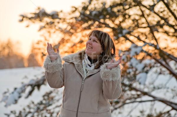 Kadın gün batımı mutlu ağaç Stok fotoğraf © fotorobs
