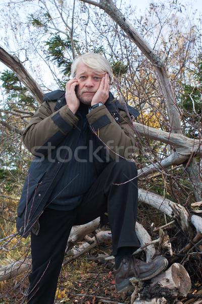 Volwassen man bos drukke grijs haar Stockfoto © fotorobs