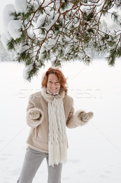 Sevinç mutlu kadın gün orman Stok fotoğraf © fotorobs