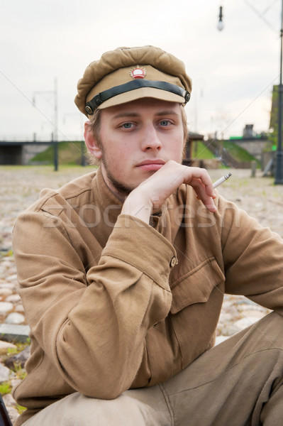 Retro style picture with resting soldier. Stock photo © fotorobs