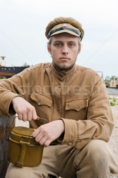 Soldier with boiler in retro style picture Stock photo © fotorobs