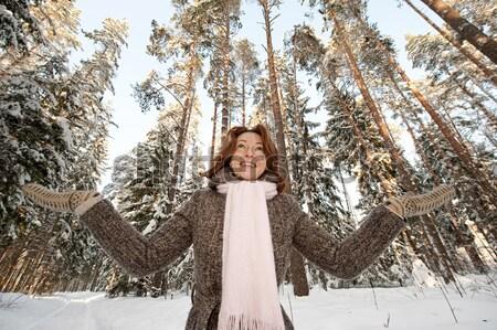 Stockfoto: Vrouw · bos · gelukkig · dag · glimlach