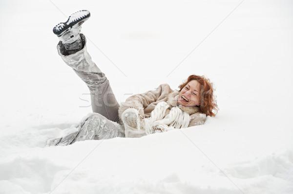 Vreugde aantrekkelijk vrouw handen glimlach Stockfoto © fotorobs