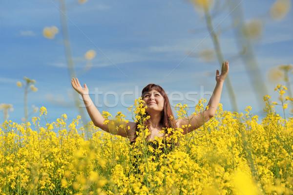 Mutlu kız çiçek çayır genç mutlu kadın Stok fotoğraf © fotorobs