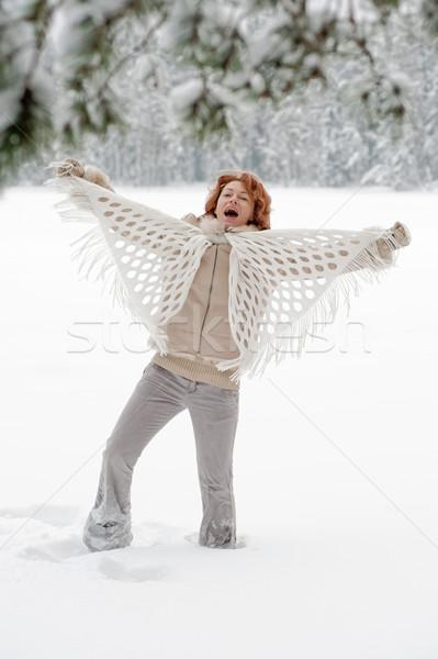 Vreugde aantrekkelijk vrouw dag bos Stockfoto © fotorobs
