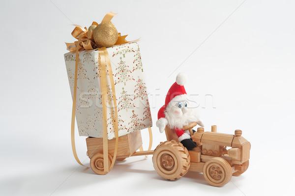 Christmas bestuurder kabouter rijden speelgoed trekker Stockfoto © fotorobs