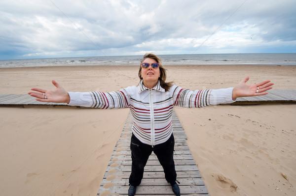 Yetişkin kadın deniz olgun komik Stok fotoğraf © fotorobs