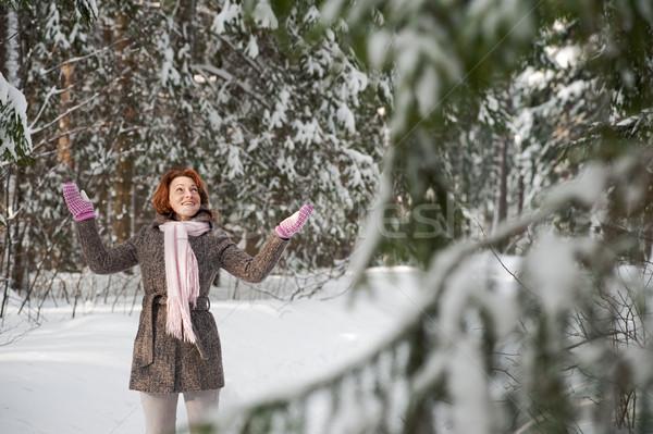 女性 森林 幸せ 日 笑顔 ストックフォト © fotorobs