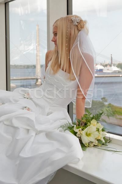 花嫁 ウィンドウ 美しい ブロンド 花 ストックフォト © fotorobs