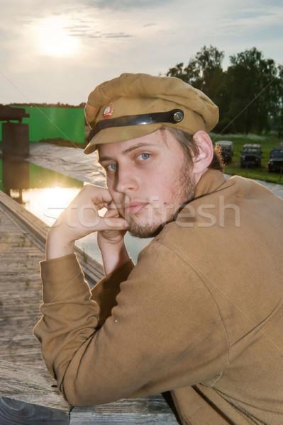 Retrato soldado estilo retro quadro uniforme mundo Foto stock © fotorobs