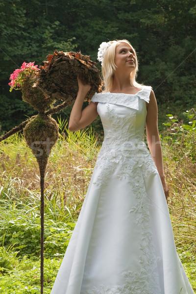 Gelin açık güzel beyaz elbise poz Stok fotoğraf © fotorobs