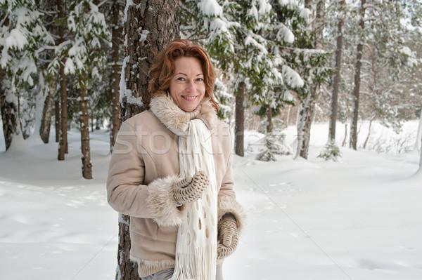 Mulher floresta sorridente dia sorrir Foto stock © fotorobs