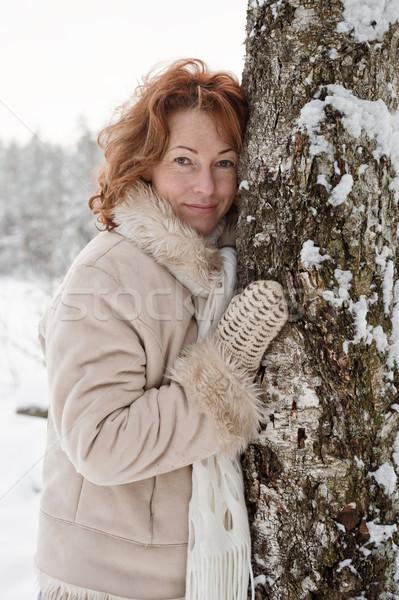 Portre kadın gökyüzü ağaç gülümseme mutlu Stok fotoğraf © fotorobs