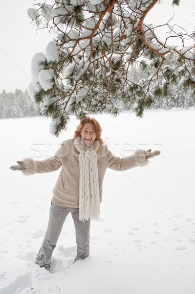 喜び 幸せ 女性 日 森林 ストックフォト © fotorobs
