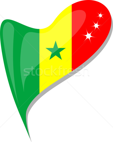 senegal in heart. Icon of senegal national flag. vector Stock photo © fotoscool