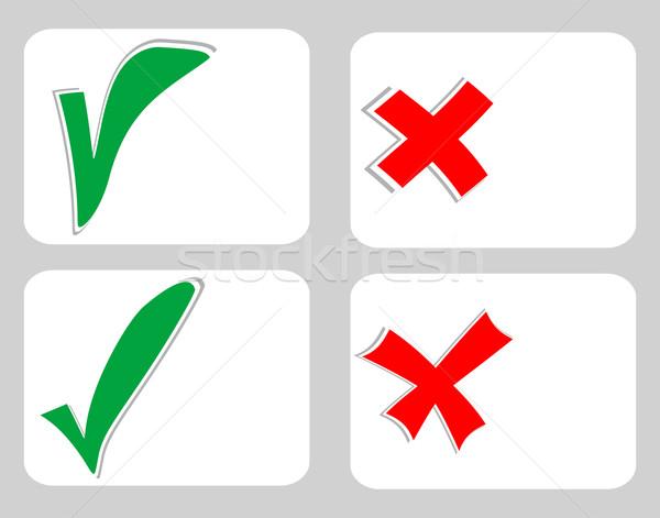 Sprawdzić ocena naklejki zestaw biały karty Zdjęcia stock © fotoscool