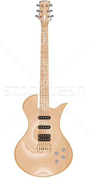 Сток-фото: красивой · древесины · электрической · гитаре · изолированный · белый · гитаре