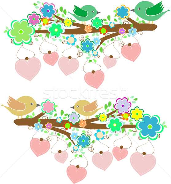 The bird sings sitting on tree branch with love heart Stock photo © fotoscool