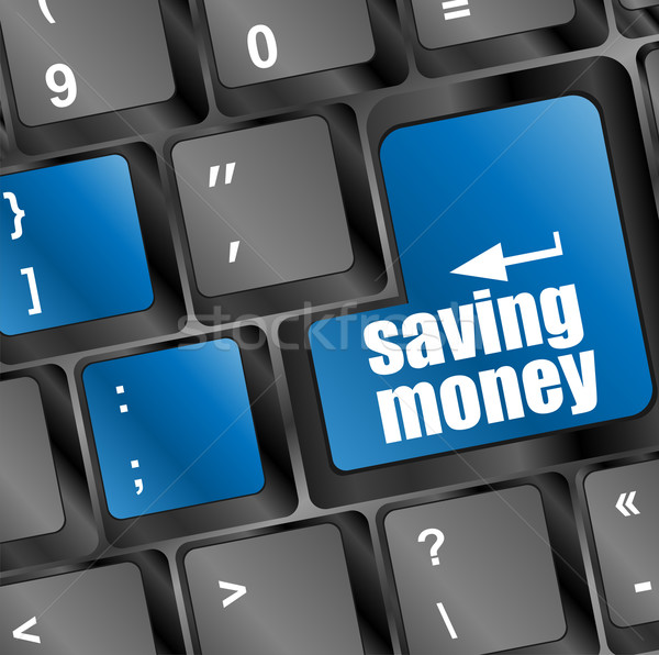 save money for investment concept with a blue button on computer keyboard Stock photo © fotoscool