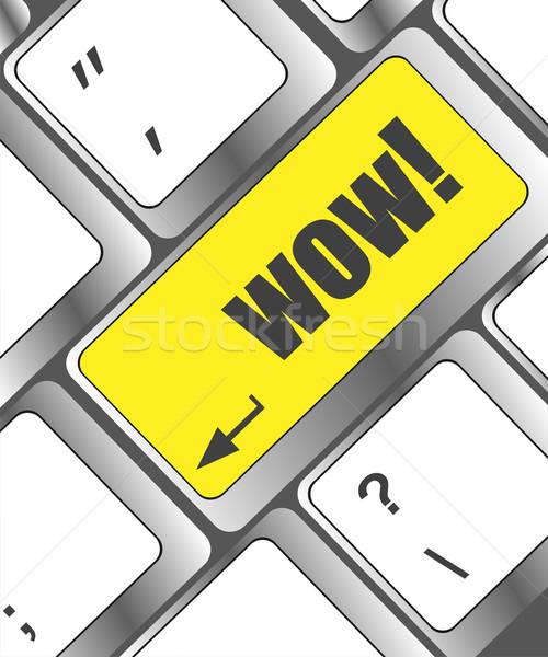 Wow pulsante chiave internet tecnologia Foto d'archivio © fotoscool