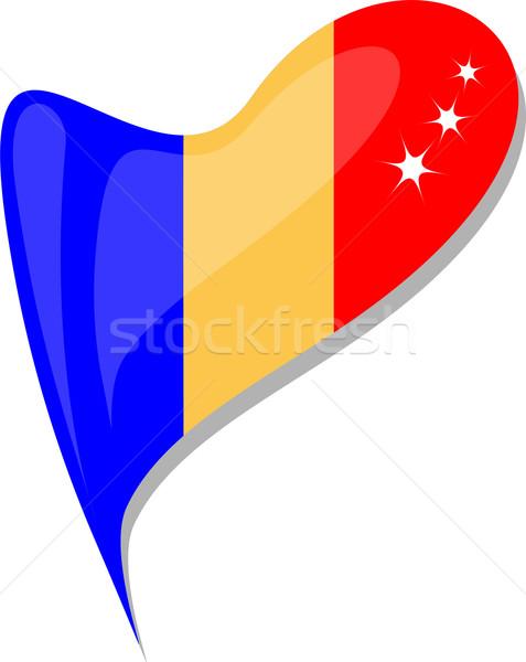 Chad corazón icono bandera vector azul Foto stock © fotoscool