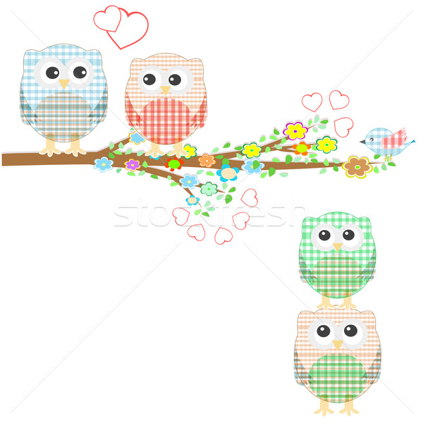 Set of nature elements: owls and birds on branches and tree Stock photo © fotoscool