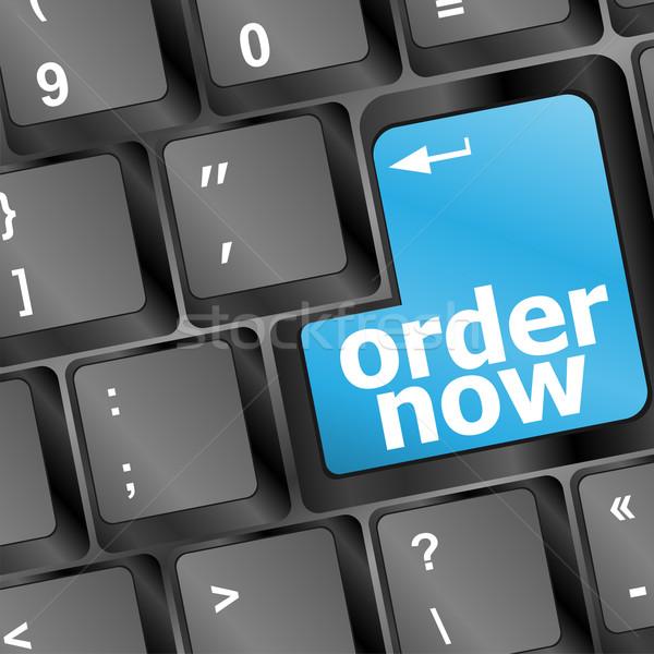 Ordre maintenant ordinateur clé bleu Photo stock © fotoscool