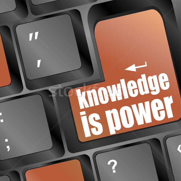 knowledge is power or education concept with button on computer keyboard Stock photo © fotoscool