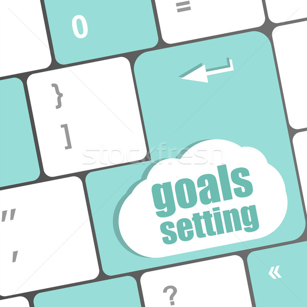 Goals setting button on keyboard with soft focus Stock photo © fotoscool