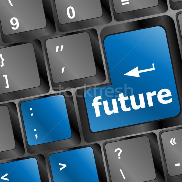 Jövő kulcs billentyűzet mutat előrejelzés beruházás Stock fotó © fotoscool
