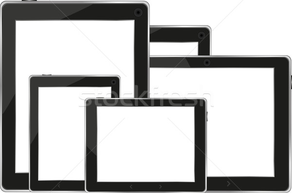 Set of digital tablets with blank screen isolated on white Stock photo © fotoscool