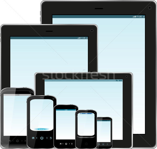 Set of realistic display, tablet computer and mobile phone template with blue screen Stock photo © fotoscool