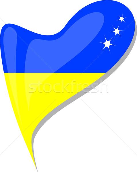 ukraine in heart. Icon of ukraine national flag. vector Stock photo © fotoscool