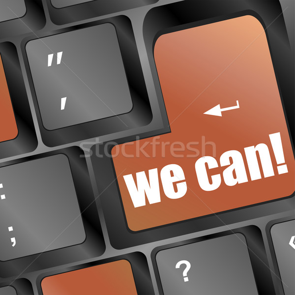 Social media key with we can text on laptop keyboard Stock photo © fotoscool
