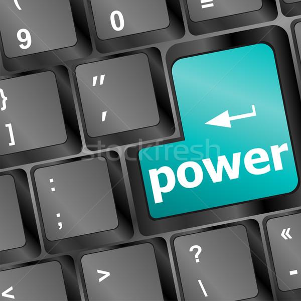 Stok fotoğraf: Bilgisayar · klavye · mavi · anahtar · güç · iş · para