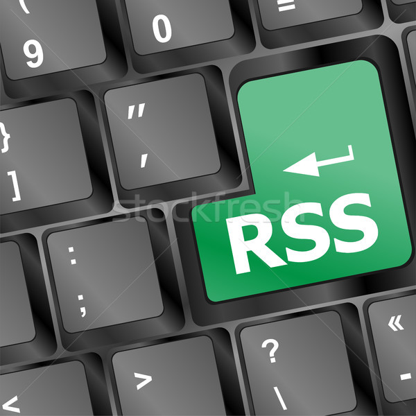 RSS button on keyboard close-up Stock photo © fotoscool