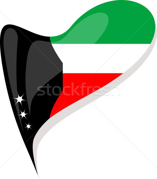 Foto d'archivio: Kuwait · bandiera · pulsante · a · forma · di · cuore · vettore · icona