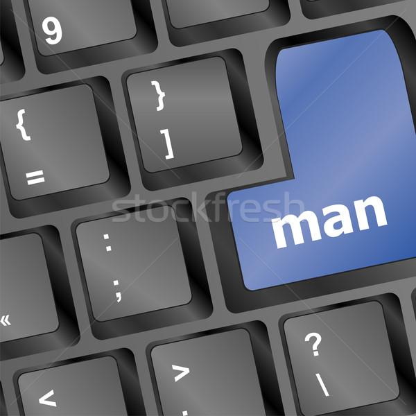 Férfi szavak számítógép pc kulcsok munka Stock fotó © fotoscool
