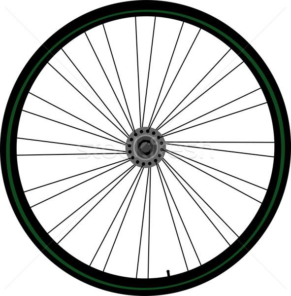 Bisiklet tekerlek ikon yalıtılmış beyaz yeşil Stok fotoğraf © fotoscool