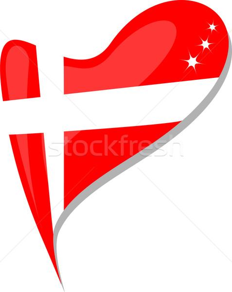 denmark in heart. Icon of denmark national flag. vector Stock photo © fotoscool
