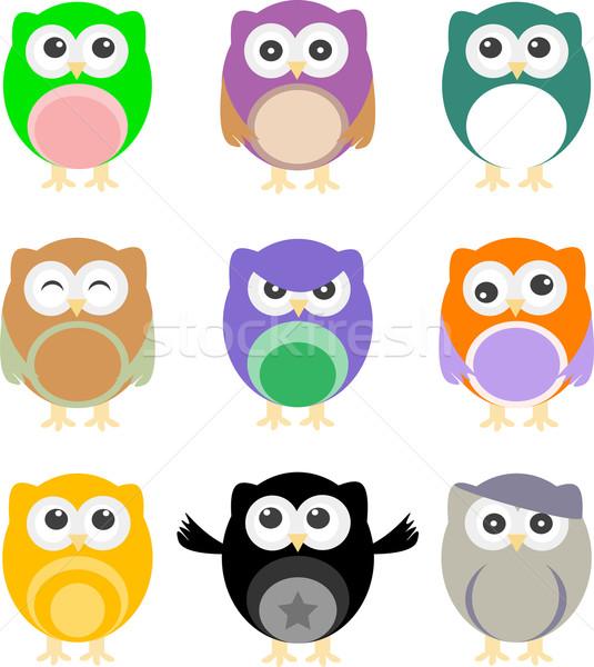 illustration of colorful cartoon owls set Stock photo © fotoscool