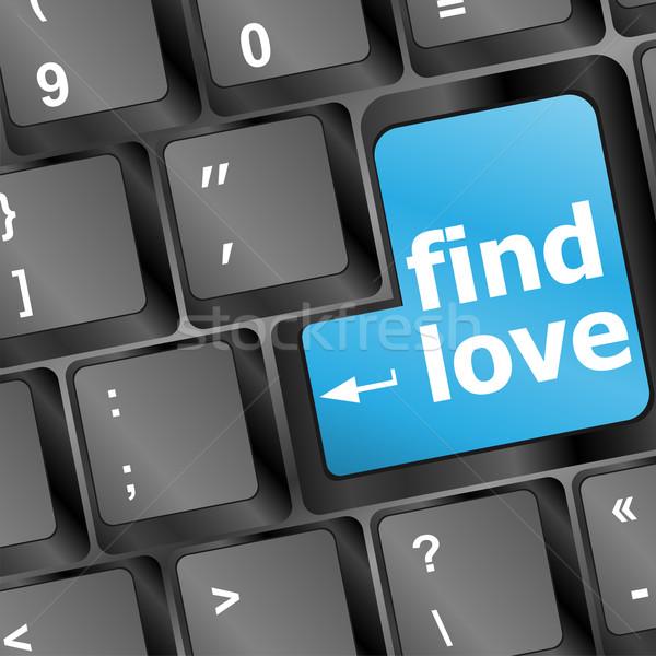 клавиатура находить любви кнопки социальной ключевые Сток-фото © fotoscool