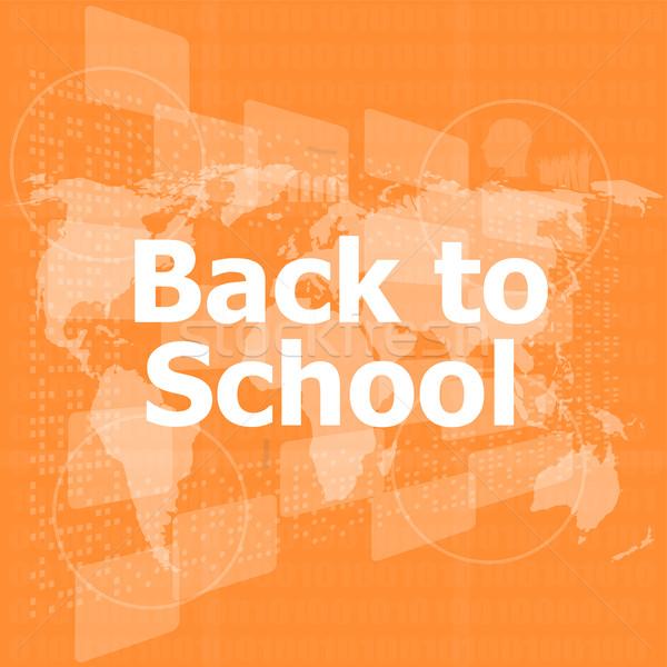 Online oktatás vissza az iskolába szavak digitális érintőképernyő számítógép Stock fotó © fotoscool