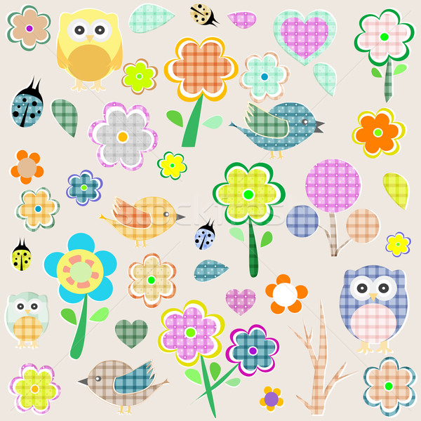 Retro spring nature and animal elements. vector background Stock photo © fotoscool