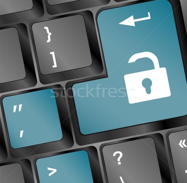 Open lock pulsante tastiera accesso computer Foto d'archivio © fotoscool