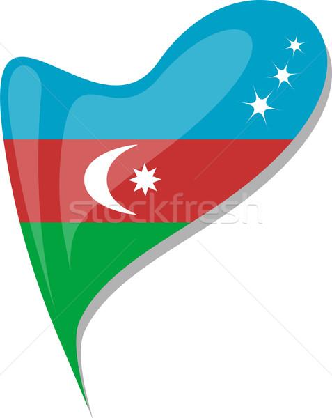 Azerbajdzsán zászló gomb szív alak vektor ikon Stock fotó © fotoscool