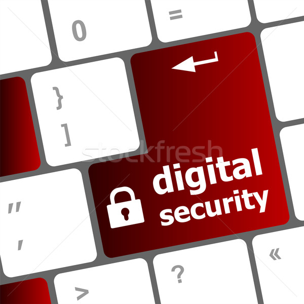 Safety concept: computer keyboard with digital security icon on enter button background Stock photo © fotoscool