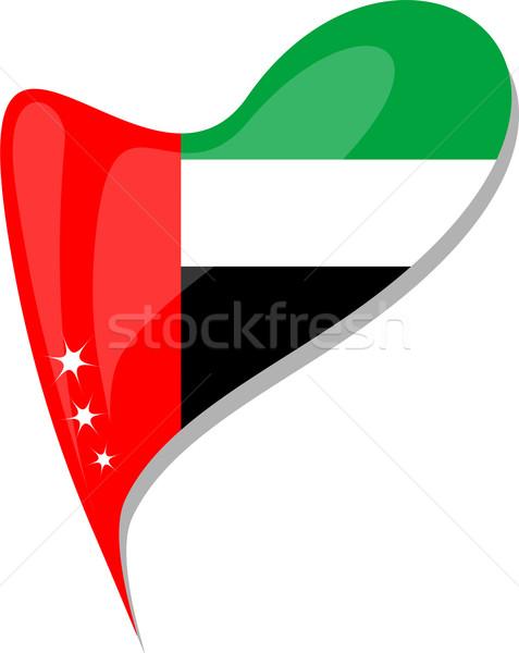 Объединенные Арабские Эмираты флаг кнопки формы сердца вектора икона Сток-фото © fotoscool