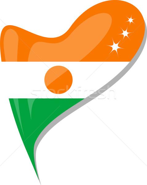 Níger corazón icono bandera vector vidrio Foto stock © fotoscool